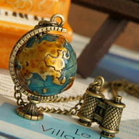 Wholesale Pendant Travel - Hot sale Retro miniature telescope global travel mini turnable globe long necklace female WFN445 (with chain) mix order 20 pieces a lot