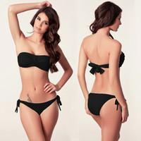 Wholesale Twist Bandeau Top Bikinis - Hot Selling Wordwide Twisted Bandeau Top Removable neck Halter Swimsuit Push Up Bandage Swimwear 2017 New Bikini S.M.L.XL
