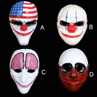 Wholesale Pvc Head Masks - Halloween Horror Mask Payday 2 Mask Newest Topic Game Series Plastic Old Head Clown Flag Red Head Masquerade Supplies