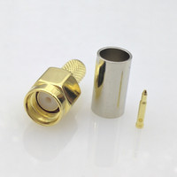 Wholesale Coaxial Cable Plug - Free shipping SMA Male connector SMA male Plug LMR195 RG-400 RG-142 50-3 cable RF SMA coaxial connector 10pcs lot