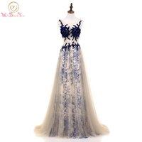 2b0750dac473d Yanında Yürümek Şampanya Abiye Seksi See Through Kraliyet Mavi Dantel  Kristal A-line Balo elbise Uzun Yaz Elbise 2018 Stok