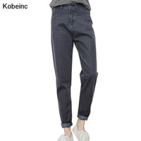 Wholesale Dark Blue Jeans For Women - Wholesale- College Style Jeans For Women 2017 New Spring Loose Harlan Trousers Fashion Denim Pencil Pant Black Light Blue Dark Blue