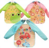 Wholesale Cute Smocks - New Cute Baby Toddler Waterproof Long Sleeve Kids Feeding Art Smock Bib Apron