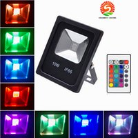 Wholesale Outdoors Led Rgb Spotlight - 10pcs Refletor Led Floodlight RGB 10W 20W 30W 50W Led Flood light Waterproof Led Spotlight Outdoor lighting Landscape lamp