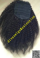 Wholesale Curly Ponytail Black Hair - Soft Human Hair Ponytails Afro Puff Curly brazilian Virgin Hair Clip In Extensions Drawstring Ponytails Kinky Curly Hair