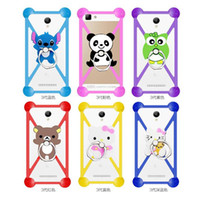 Wholesale Smartphone Case Cover Silicone - Universal Soft Bumper Case Silicone Rubber Cartoon Cases With Ring Shockproof Cover For 3-6 Inch Smartphone iPhone 7 7 plus Samsung s8