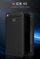 Wholesale Hongmi Black - Phone Case For Xiaomi Redmi Red me 4X 4 X Case 5.0'' Luxury Carbon Fiber TPU Soft Back Cover For Xiaomi Hongmi 4X 4X