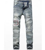 Wholesale Denim Vaqueros - Wildgeeker Men's Jeans Springy Classic Dark Distressed Fashion Vaqueros Blue Slim Denim Casual Male Jeans Trousers Men Clothing