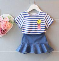 Wholesale Girls Jean Tutu Skirt - 5set lot 2017 summer suits 2pcs set girls blue stripe tops T shirts+girls jean skirts suit set kids clothes sets outfits