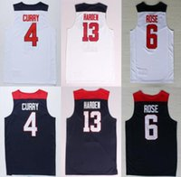 Wholesale Eleven S - 2014 USA Dream Team 11 basketball Jerseys 4 Stephen Curry 13 James Harden 6 Rose American Dream Eleven Uniforms
