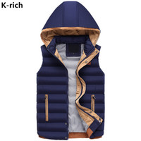 Wholesale Rich Coats - K-rich Vest Waistcoat For Men Hooded Solid Thick Warm Striped Male Vest Coat M-3XL Plus Size High Quality Men's Vest