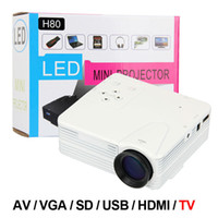 Wholesale Cheap Tv Projectors - Wholesale-H80 Home Cinema Theater Multimedia LED Cheap Projector HD 1080P AV TV VGA USB HDMI White Free Shipping