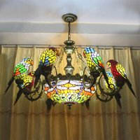 Wholesale Stained Glass Pendant Lamps - FUMAT Parrots Dragonfly Chandelier European Style Artistic Classical Stained Glass Suspension Light Hanging Lamp Light Fixtures
