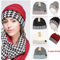 Wholesale Wholesale Cuffed Beanies - CC Hat Alabama Crimson & Hounds-tooth CC Beanie C.C. Knit Houndstooth Cuff Beanie 50 pcs LJJY787