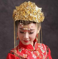 Wholesale Chinese Bridal Headdress - Beautiful Chinese bride crown costume bridal headdress pure handmade wedding hair ornaments 1546546