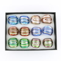 Wholesale New Design Box Jewelry - New Design Glass Rings Swirl Lampwork Gold Sand Glass Rings for Jewelry Making 12pcs box, MC1013
