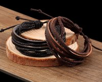 Wholesale Mens Weave Bracelet Leather - 100% hand woven Mens and Women Bracelets Wrap Multilayer Genuine Leather Bracelet with Braided Rope Fashion Jewelry Cheap wholesale
