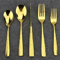 Wholesale Cutlery Set Polka Dots - European Quality Stainless Steel Aoosy Tableware Set Polka-dot Antifriction Gold Cutlery Dinnerware Spoon Fork Knife Polishing 5-piece
