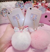 Fashion Cute 3D Bling Diamonds Metal Coelho oreille Fur ball Bow nœud Pompom Tassel Housse souple pour Samsung Galaxy s7 edge s7e