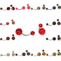 Wholesale Sexy Belly Bars - 60 Pcs Sexy Patterns Star Print Body Jewelry Belly Button Navel Rings Bar Barbell Stainless Steel Piercing Jewelry 12 Colors