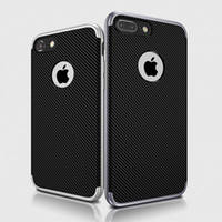 Wholesale Soft Silicone Frame Iphone - for iPhone 7 6 6s Plus 5 5S SE Case Silicone 2 In 1 PC Frame Soft TPU Hybrid Armor Phone Back Cover