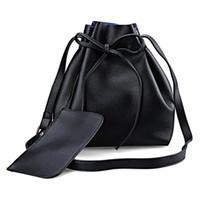 Wholesale Belt Wallet Sets - Wholesale-2 PCS Shouder Bag with Wallet PU Leather Ladies Solid Belt Design Strap Dual Women Handbag Shoulder Crossbody Bucket Bag Set