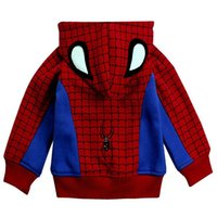 Wholesale Spiderman Thick Hooded - boys jacket spiderman pattern kids boy hooded clothes cotton autumn outwear winter thick cashmere coat red patchwork fashion child clothing