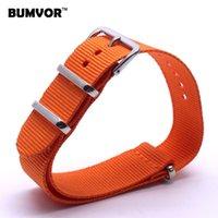 Wholesale Cheap Watchbands - Wholesale- Strong 20 mm Solid Orange Nato Woven Fiber watchband 20mm Nylon Watch Bracelet Strap Wristwatch Band Buckle Cheap fabric