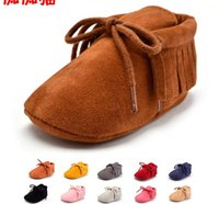 Wholesale Purple Baby Crib - PU Suede Leather Newborn Baby Boy Girl Moccasins Soft Moccs Shoes Bebe Fringe Soft Soled Non-slip Footwear Crib Lace-up Shoe
