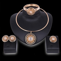 Wholesale Asian Bridals - Wholesale Gold Plated hollow Round Torque Necklace Bangle Ring Set for Women Bridals African Jewelry Sets Necklace Earrings Bracelet Ring