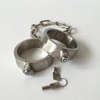 Wholesale Male Steel Wrist Restraints - 2017 Male Female Stainless Steel Chain Fetter Round Anklet Shackles Ankle Cuffs Key Open Restraint Bondage Adult BDSM Sex Games Toy 827