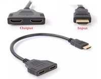 Wholesale Lcd Projector Hdmi Port - 30CM V1.4 HDMI Male to 2 Port Dual Female 1x2 HDMI Cable Adapter Splitter HUB Support 1080P For HDTV DVD Player LCD Monitor and projectors