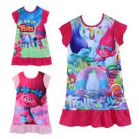 Wholesale Kids Dress Wholesale Price - 2017 New Cartoon Trolls Kids Girls Cheap price High quality 100% cotton fabric dress ruffle sleepwear girls nightgown