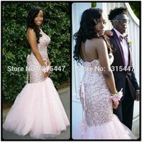 Wholesale Empire Strapless Beaded Court Dress - Pretty Women Formal Long Evening Dress 2017 New Designer Robe De Soiree Longue Sweetheart Beaded Blush Pink Mermaid Prom Dresses