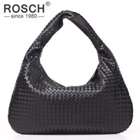 ручной вязки трикотажные сумочки оптовых-Wholesale-Top Quality Fashion Handmade Knitting Women Shoulder Bags  Design Black PU Leather Handbags Weave Office Bags Dollar Price