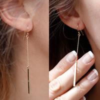 Wholesale Bar Drop Earrings - Punk Jewelry Fashion Women Charms Tassels Metal Bar Ear Jewelry Drop Earrings Vintage Gold Plated Long Pendant Chain Earring