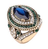 klobige ringe für frauen großhandel-Luxus Chunky Schmuck Ringe Frauen Retro Blau Kristall Pflastern Diamant Ring Mix Farben Rot Grün größe 7-10