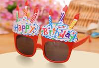 Wholesale Fun Birthday Candles - Happy Birthday glasses fun party candles balloon glasses Celebration Children Sunglasses Party Costume Fancy Dress Up prop favor