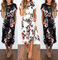 Wholesale office pink short dress - Mid Calf Vintage Office Dress Women Floral Printed Slim Party Dresses O-Neck Short Sleeve Slim Summer Beach Dress Boho Vestidos