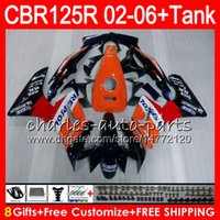 Wholesale Honda Cbr125r Fairings - Body +Tank For HONDA CBR125 R CBR125R 02 03 04 05 06 80HM1 CBR 125R 125RR CBR125RR 2002 2003 2004 2005 2006 Fairing 23Colors Repsol orange
