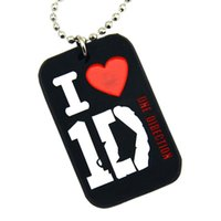 "Wholesale One Direction Dog Tags - Wholesale Shipping 50PCS Lot I Love 1D Silicon Dog Tag Necklace One Direction Dog Tag With 24"" Ball Chain"