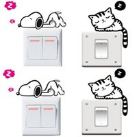 1PC Funny Cat Dog Removable Art Vinyl Switch Sticker Home Wall Window Decor NOUVEAU