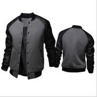 costura de pelagem venda por atacado-Atacado- 2016 nova primavera homens homens chegada homens costura PU couro jaquetas impermeáveis homens agasalho Sportswear casacos Outwear