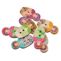 Wholesale Russian Dolls Buttons - Kimter Random Mixed Russian Dolls Wooden Sewing Buttons With 2 Holes 3x1.6cm For Art Crafts Creative Dressmaking Pack Of 30pcs I695L