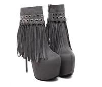 botas de borla de metal al por mayor-Nueva gamuza de moda con remaches de metal borla botas cortas de mujer de tacón alto de 16 cm