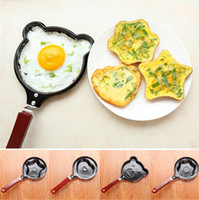 Wholesale Mini Heart Frying Pan - Fried Eggs Pans Mini DIY Cartoon Warm Breakfast Frying Pan Creative Pancake Heart Shape Piggy Egg Tools Kitchen Cookware OOA1272