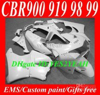 Kit de carenagem mais votado para HONDA CBR900RR 98 99 CBR 900RR CBR900 CBR 900 RR 919 1998 1999 Conjunto de carenagem de ABS branco completo + 7gifts HG20
