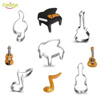 Wholesale Guitar Cakes - Delidge 5 pcs set Music Series Cookie Mold Stainless Steel Piano Guitar Music Notes Shape Cake Cutter Cake Biscuit Mould