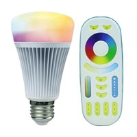 Wholesale temperature controller wireless - Wholesale-2.4G Wireless E27 8W RGBWW+ Color Temperature Dimmable 2 in 1 Smart MiLight LED Bulb With 2.4G RF Remote Controller AC85-265V