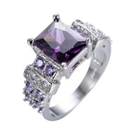 Wholesale Cheap Solitaire Engagement Rings - Elegant Anel Big Amethyst Cubic Zircon Ladies Finger Rings Cheap Wedding Ring Engagement Jewelry Anel Feminino